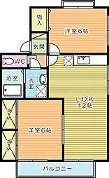 セジュールTAKAMI C棟[202号室]の間取り