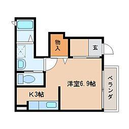 近鉄大阪線 大和八木駅 徒歩18分の賃貸アパート 1階ワンルームの間取り