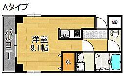 TOYOTOMI STAY PREMIUM 天王寺公園南I 5階ワンルームの間取り