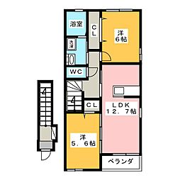 ヒルサイドパーク[2階]の間取り