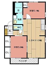 フォレストVII A棟[101号室]の間取り