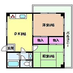 兵庫県神戸市灘区城内通1丁目の賃貸マンションの間取り