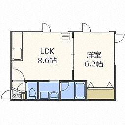 北海道札幌市中央区南五条西11丁目の賃貸アパートの間取り