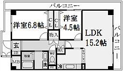 兵庫県西宮市甲陽園日之出町の賃貸マンションの間取り