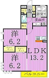 クレスト竹の塚[301号室]の間取り