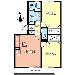 神奈川県大和市桜森2丁目の賃貸アパートの間取り