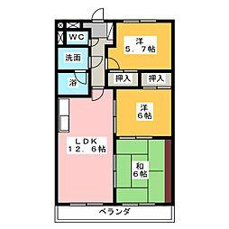 プレミール三郷[6階]の間取り