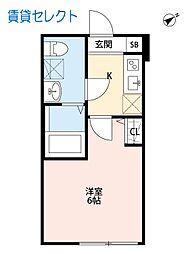 松戸新田 HAPPY HOUSE マツドシンデンハッピーハウス[102号室]の間取り