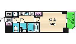 エスリード大阪城クローグ 13階1Kの間取り