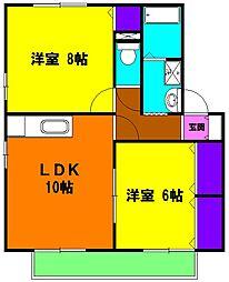 静岡県浜松市浜北区横須賀の賃貸アパートの間取り