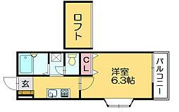 イーストランドB[2階]の間取り