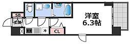 エスリード大阪CENTRAL AVENUE 6階1Kの間取り