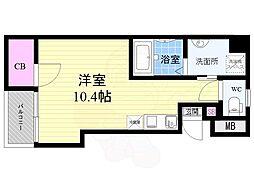 Osaka Metro長堀鶴見緑地線 西長堀駅 徒歩5分の賃貸マンション 6階ワンルームの間取り