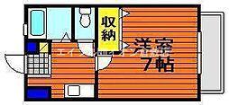 JR宇野線 茶屋町駅 3.3kmの賃貸アパート 1階1Kの間取り