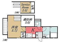 京成本線 ユーカリが丘駅 徒歩11分の賃貸アパート 1階1SKの間取り