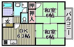 フラワーハイツムラナカ[2階]の間取り