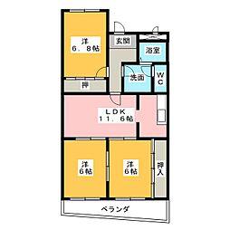 愛知県名古屋市中川区東起町3の賃貸マンションの間取り