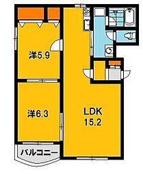 ミヤビタウン E[201号室]の間取り