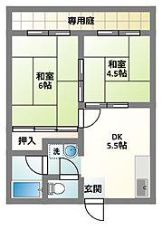 大阪府門真市速見町の賃貸アパートの間取り