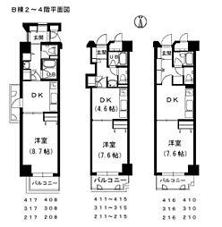 メゾン・ド・ナリヤ B棟2〜4階[411号室]の間取り