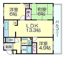阪急京都本線 茨木市駅 徒歩26分の賃貸マンション 1階3LDKの間取り