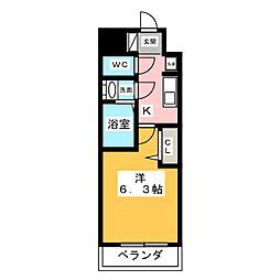 アステリ鶴舞トゥリア 10階1Kの間取り