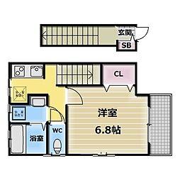 大阪府東大阪市長栄寺の賃貸アパートの間取り