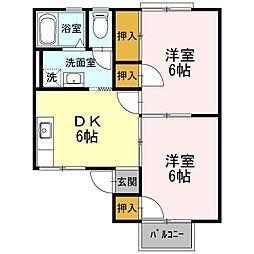 静岡県浜松市中区早出町の賃貸アパートの間取り