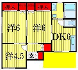 [一戸建] 千葉県船橋市中野木1丁目 の賃貸【/】の間取り