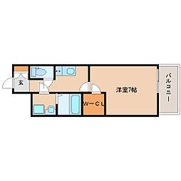 阪神本線 尼崎駅 徒歩6分の賃貸マンション 11階1Kの間取り