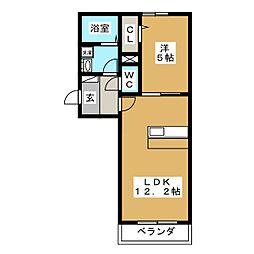 キャトルセゾン富沢[2階]の間取り