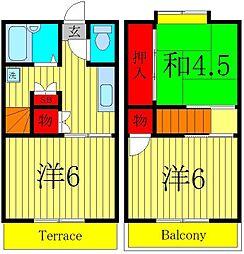 [テラスハウス] 埼玉県三郷市戸ケ崎2丁目 の賃貸【埼玉県 / 三郷市】の間取り
