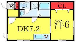 都営三田線 板橋区役所前駅 徒歩5分の賃貸アパート 1階1DKの間取り