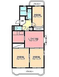 サンハイツワタナベ[3階]の間取り