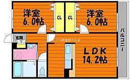 岡山県倉敷市西中新田の賃貸マンションの間取り