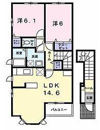 大阪府枚方市田口4丁目の賃貸アパートの間取り