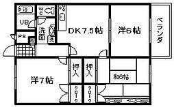 フィルコート東羽倉崎B棟[303号室]の間取り