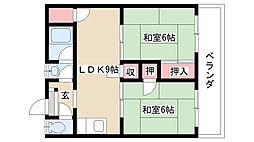 長栄ビル[2B号室]の間取り