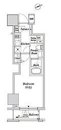 JR山手線 新橋駅 徒歩5分の賃貸マンション 11階1Kの間取り