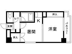 パームコート旭川 4階1DKの間取り