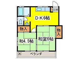 グリーンコーポ2[1階]の間取り