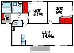 JR鹿児島本線 新宮中央駅 徒歩10分の賃貸アパート 2階2LDKの間取り