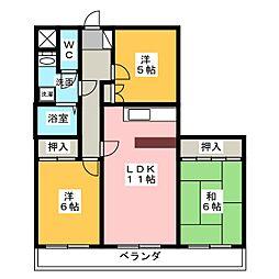 港西マンションII[2階]の間取り