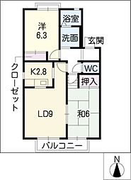 ジュネス東山台A棟[2階]の間取り