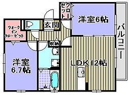 ロイヤルハイツA・B[1階]の間取り