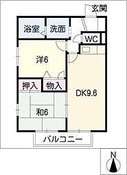 ひまわりハイツC棟[1階]の間取り