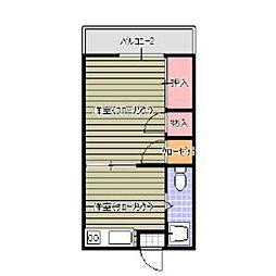 福岡県福岡市中央区大宮1の賃貸アパートの間取り