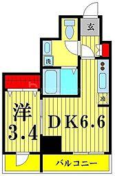 レオーネ亀戸II 4階1DKの間取り
