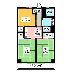 エスカイヤ八千代[3階]の間取り