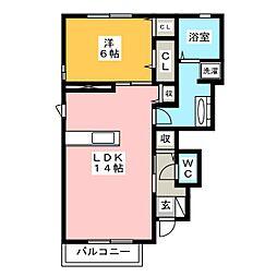 静岡県静岡市駿河区西島の賃貸アパートの間取り